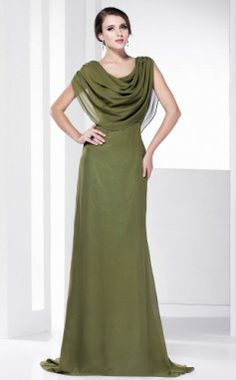 Cowl Chiffon Sheath/Column Floor-length Evening Dress inspired by Tia Carrere at Grammy
