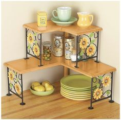 Beautiful sunflower metal/wood corner shelve, perfect for your kitchen and to hold your plates. Vintage looking and also bohemian boho style. Flowers are cute. Decor. ads.