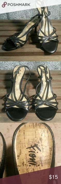 "Fioni Strappy Heels Black patent leather strappy 3 1/4"" heels by Fiono Fioni Shoes Heels"