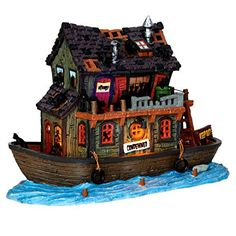 Lemax 45666 Haunted Houseboat Spooky Town Lighted Building Village Halloween Decor S O Scale -- Read more reviews of the product by visiting the link on the image.