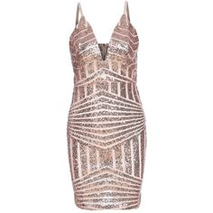 43ca9913a4a ROMWE Womens Sequin VNeck Spaghetti Strap Bodycon Cocktail Dress Gold L    For more information