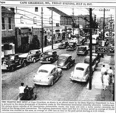 """The Traffic Hot Spot of Cape Girardeau,"" 1947.  Courtesy of the Southeast Missourian.  #missouri #traffic #history #backintime"
