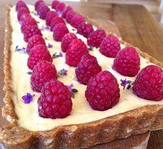 Raw Vegan Raspberry, Lemon & Lavender Tart by RawFoodforLife.org
