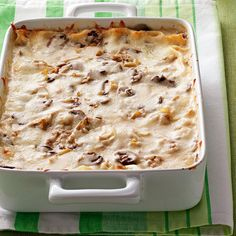 Artichoke Mushroom Lasagna Recipe -White wine adds delightful flavor to this hearty vegetarian entree. No one will miss the meat! —Bonnie Jost, Manitowoc, Wisconsin