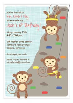 Do you have a little climber in your family? Do family members affectionately call him the little monkey of the house? Then you are going to fall in love with these cute monkey birthday party invitations for kids. This will be the perfect thing to take the birthday boy to when the important day arrives. Invite his friends to hang out with him by sending out the Little Monkeys Climbing Invitation created by Peppermint Prints.