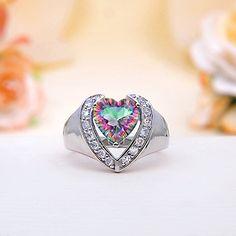 Rainbow Mystic Topaz Heart Ring
