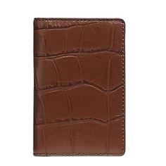 Coach Croc Embossed Leather Slim Bifold Men's Card Case Wallet, Saddle – Luxe Fashion Finds Billfold Wallet, Just For Men, Business Organization, Perfect Match, Emboss, Card Case, Leather Men, Crocs, Design Trends