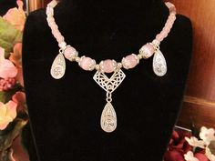 It's All Pink Necklace  Jade Cat's Eye Glass by RomanticThoughts, $38.00