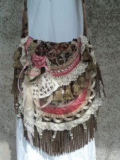 Handmade Boho Carpet Bag Shabby Chic Cross Body Fringe Victorian Purse tmyers #Handmade #MessengerCrossBody