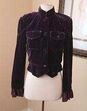 Zelda Purple Burnout Velvet Ruffle Bolero Jacket Sz 4 Military Style Velour Punk