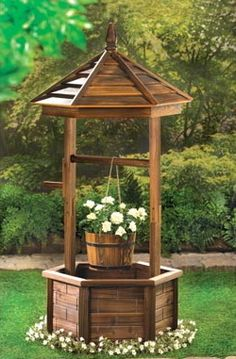 Country Garden Rustic Natural Wood Quaint Nostalgic Wishing Well Planter | eBay