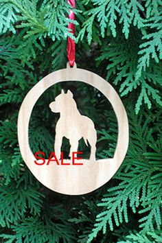 This Pit bull Silhouette ornament is the perfect adornment for every Pit bull lovers Christmas tree.  Was $8 now $6.00   It measures approximately 3 1/2 x 4 inches. Hand cut on a scroll saw, sanded, dipped in lemon oil to bring out the natural beauty of the wood, then finished with several coats of clear coat. It attaches to the tree with a simple ribbon.  This makes a wonderful gift for your Pit bull loving friends.  Also available in over 25 other breeds. Contact me for other breeds…