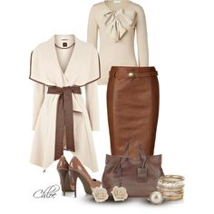Brown and nude classy outfit Mode Outfits, Fall Outfits, Fashion Outfits, Womens Fashion, Fashion Ideas, Skirt Outfits, Jackets Fashion, Heels Outfits, Woman Outfits
