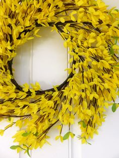 Yellow Spiral Wreath, Front Door Wreath, Fall Wreath for Front Door, Summer Wreath for Front Door, Yellow Wreath, Forsythia Wreath by MaineMadeWreaths on Etsy https://www.etsy.com/listing/224230489/yellow-spiral-wreath-front-door-wreath