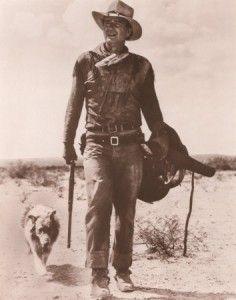 John Wayne with a dog in the classic western, Hondo.