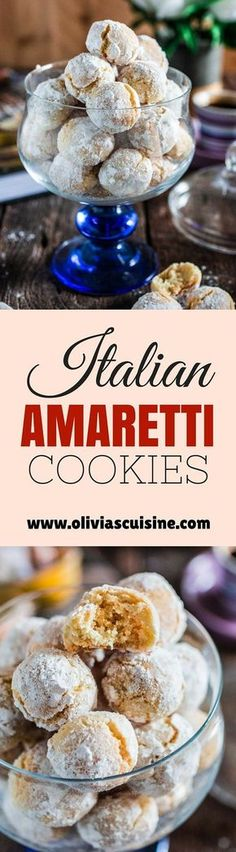 Amaretti Cookies   www.oliviascuisin...   These chewy almond-flavored cookies are the most perfect accompaniment for a cup of coffee or Italian espresso. You might wanna double the batch, because they usually go very quickly!