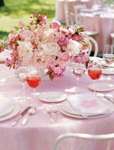 elegant pink wedding tablescape