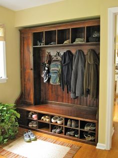 Beautiful for a cabin mudroom. Could make the cabinet bigger for skis, etc. . . The Creek Line House: 10+ Inspiring and Inventive Mudroom Ideas