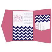 chevron pocketfold wedding invitations
