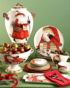 Vietri Old St. Nick Dinner Plate, Square Salad, Mug, Spoon Rest, Square Trivet