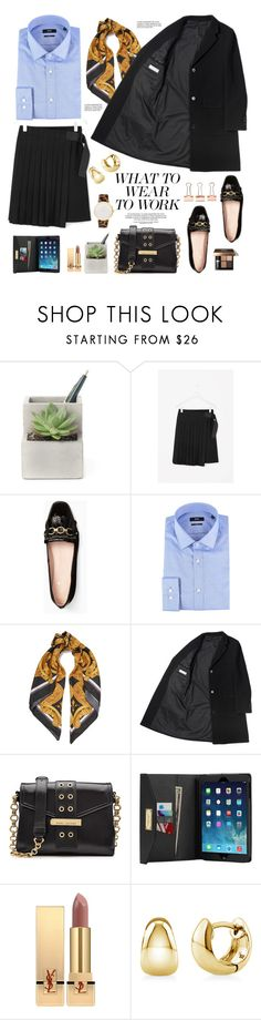 """What to wear to work"" by hamaly ❤ liked on Polyvore featuring Kate Spade, BOSS Hugo Boss, Versace, Marc Jacobs, MICHAEL Michael Kors, Bobbi Brown Cosmetics, Yves Saint Laurent, BERRICLE and Larsson & Jennings"