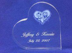 Nightmare Before Christmas Jack & Sally Wedding Cake topper Engraved FREE