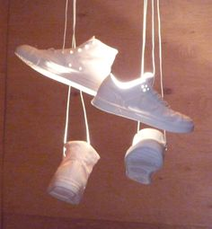 Jeremy Hatch's shoe-toss installation, lamps made of porcelain