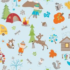 Fox Trails Blue Main by Doohikey Designs for Riley Blake, 1 yard