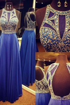 nav blue sequins long open back A-line prom dress with beading