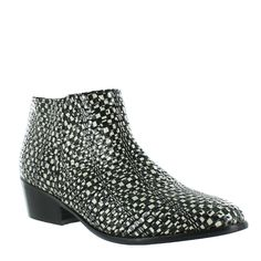 3a795f188 Patent Leather Ankle Boot with a Block Heel and Zip