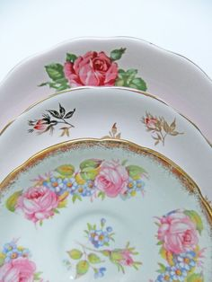 Instant Collection of Vintage China Plates and by peonyandthistle, £7.00