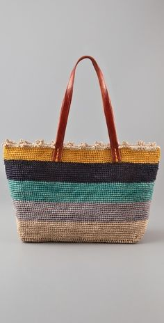 woven straw tote features distressed leather handles and a scalloped top line. Lined interior features patch pocket. * x x * strap drop. Straw Tote, Distressed Leather, Tote Purse, Leather Handle, Purses And Bags, Fashion Design, Southern Drawl, Crochet Bags, Color Combos