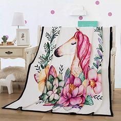 1cbcfa53c340c Longji 2018 Unicorn Blanket Believe Miracles Cartoon Plush Throw Blanket on  Sofa Bed for Kids Bedding Sherpa Blanket (Size   cm)