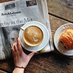 coffee and croissant and my favorite newspaper.