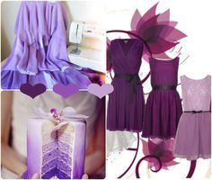 purple ombré wedding idea board