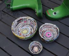 Recycled Magazine Page Bowls  Old magazines do not have to sit around and collect dust anymore. They can be recycle into cute bowls of different  size.