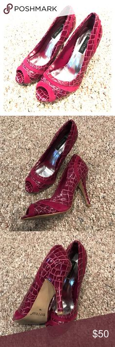 White House Black Market Fuschia Heels - size 7M These sexy sassy 3 inch heels are perfect for work or a night on the town. Open toe, comfortable and barely worn. Size 7M. White House Black Market Shoes Heels