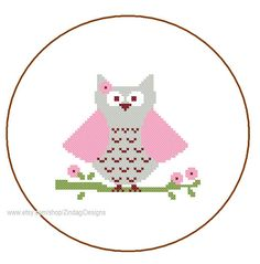 Instant Download cute girl owl Cross Stitch by ZindagiDesigns, $2.50