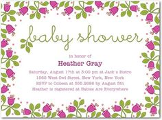 Our New Baby Shower Invitations from the Vera Bradley collection. The perfect invitations for a Spring shower!