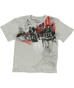"He'll be ready for anything in this bold Mecca T. Made of soft cotton, it features a knit neckline with tagless interior and a colorful graphic of a city skyline Check out our full selection of Mecca gear for some perfect matches! Mecca ""We Never Sleep"" T-Shirt (Sizes 8 – 20) - Cookie's Kids"