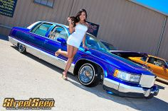 Katrina got excited next to John's Rollerz Only Caddy. Trucks And Girls, Car Girls, Chicano, Chola Girl, Up Auto, Pin Up, Chevy Impala, Chevrolet Chevelle, Lux Cars