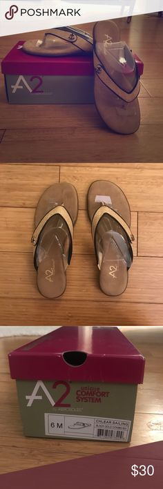 NEW A2 Aerosoles Anchor Sandals Sz 6 NEVER WORN Brand new! Never worn! Size 6 A2 Aerosoles anchor sandals. Soft soles for comfort while walking, plus stylish flip flop design with cute anchor detail. Perfect for summer travel or a beach it afternoon! A2 By Aerosoles Shoes Sandals