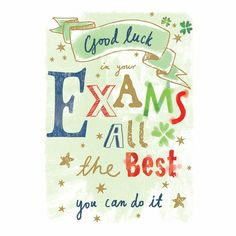 Buy Ling Good Luck In Your Exams Greeting Card from our Greetings Cards range at John Lewis & Partners. Exam Wishes Good Luck, Best Wishes For Exam, Good Luck For Exams, Best Wishes Card, Good Luck Cards, Good Luck To You, Wishes For You, Messages For Friends, Wishes Messages