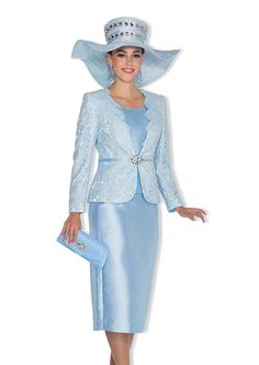 Champagne 5014 Womens Skirt Suit With Lace Adorned Jacket