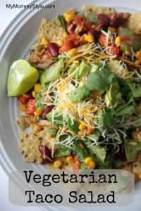 Zesty Vegetarian Taco Salad (leave out the salt & use frozen no sodium corn)