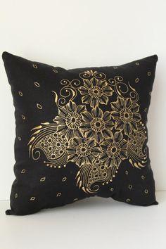 Henna Art Cushion Hand Painted Home Decor $49.99 by LavenderHenna #etsy #etsyusa #lavenderhenna #handmade