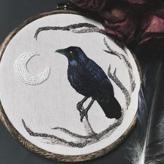finished this crow commission today 🖤 {I'm able to do one more crow piece by commission if you are interested, and will soon be starting the next installments to the Familiar collection} Embroidery Hoop Art, Hand Embroidery Patterns, Cross Stitch Embroidery, Halloween Embroidery, Cross Stitching, Textile Art, Sewing Crafts, Needlework, Creations