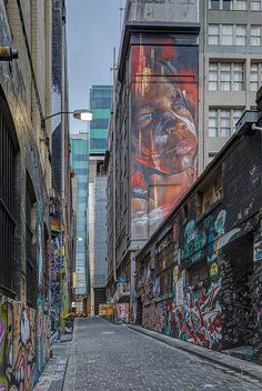 Another angle on the new, amazing Adnate portrait, overlooking Hosier Lane, Melbourne.   #Adnate - More #streetart at www.Streetart.nl