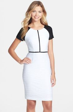 Nue by Shani Nue by Shari Colorblock Ottoman Knit Sheath Dress available at #Nordstrom