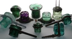Antique glass insulators.